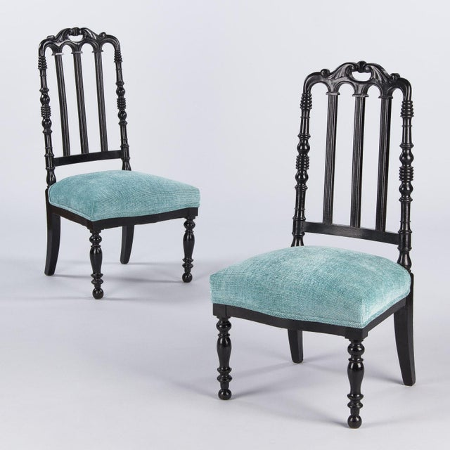 "Napoleon III Ebonized ""Chauffeuses"" Low Chairs - A Pair For Sale - Image 4 of 13"