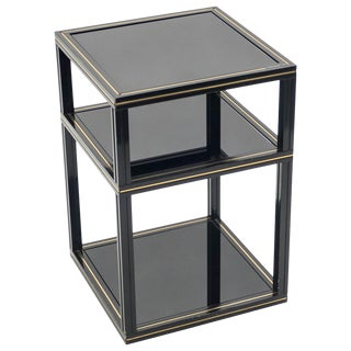 3-Tiers Side Table Black Opaline Glass by Pierre Vandel, 1970s For Sale