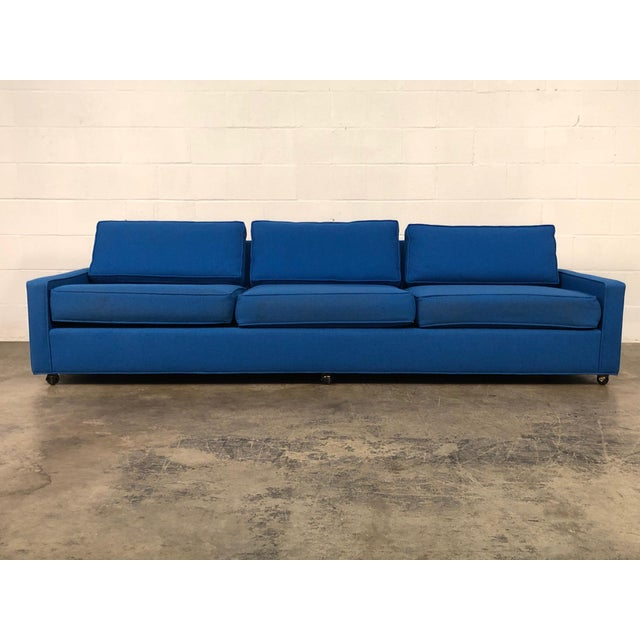 """Royal Blue Mid-Century Modern Sofa ~ 103"""" Long For Sale - Image 4 of 11"""