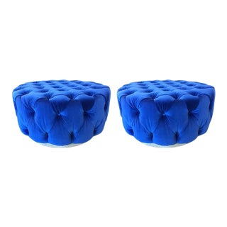 Pair of Flavor Custom Originals Modern Blue Tufted Ottomans