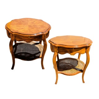 1960s Mid-Century Modern Drexel Carved and Inlaid Maple Side Tables - a Pair