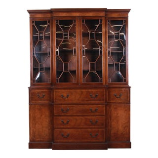 Baker Furniture Mahogany Breakfront Cabinet For Sale