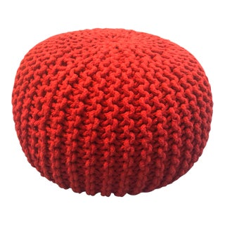 Vintage Flame Red Retro Knitted Crochet Foot Stool Pouf For Sale