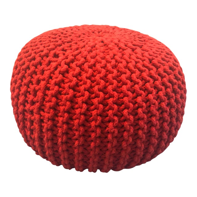 Amazing Vintage Flame Red Retro Knitted Crochet Foot Stool Pouf Cjindustries Chair Design For Home Cjindustriesco
