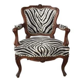 French Zebra Side Chair For Sale