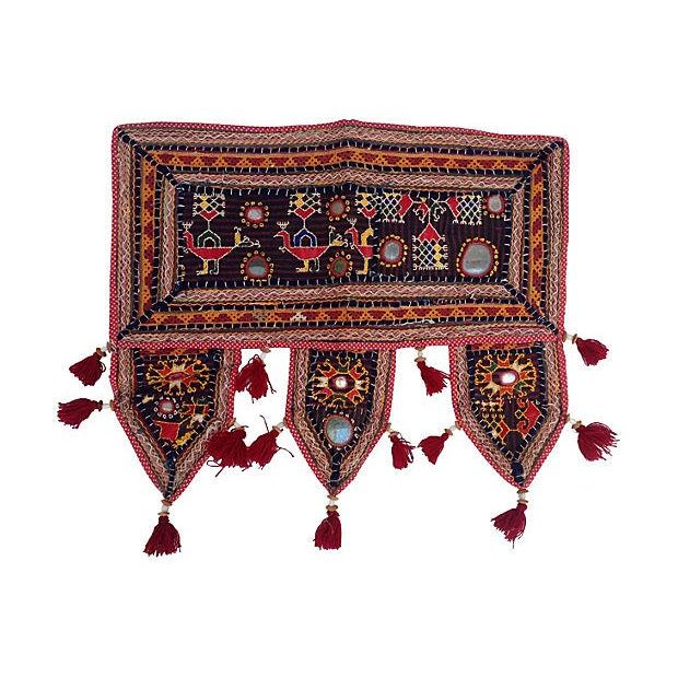 Indian Embroidered Mirrored Door Valance For Sale