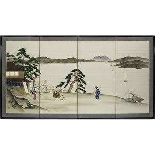 Early 20th Century Antique Japanese Byobu Ukiyo-E Silk Screen For Sale
