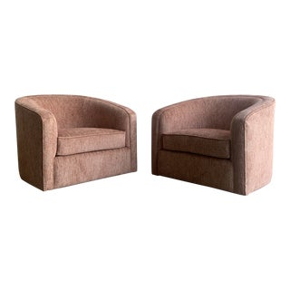 Mid Century Barrel Chairs- Pair For Sale
