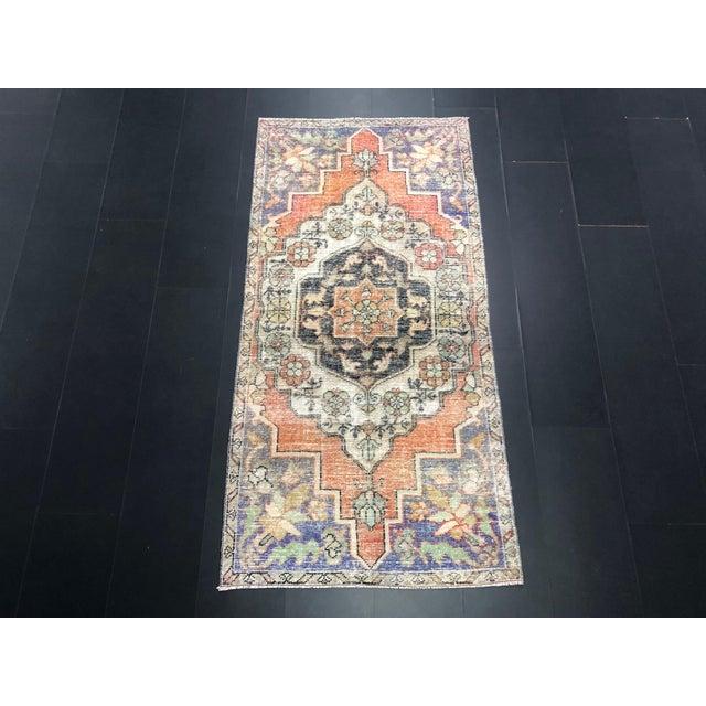 1960s Vintage Bohemian Turkish Handmade Rug- 3′5″ × 6′11″ For Sale - Image 11 of 11