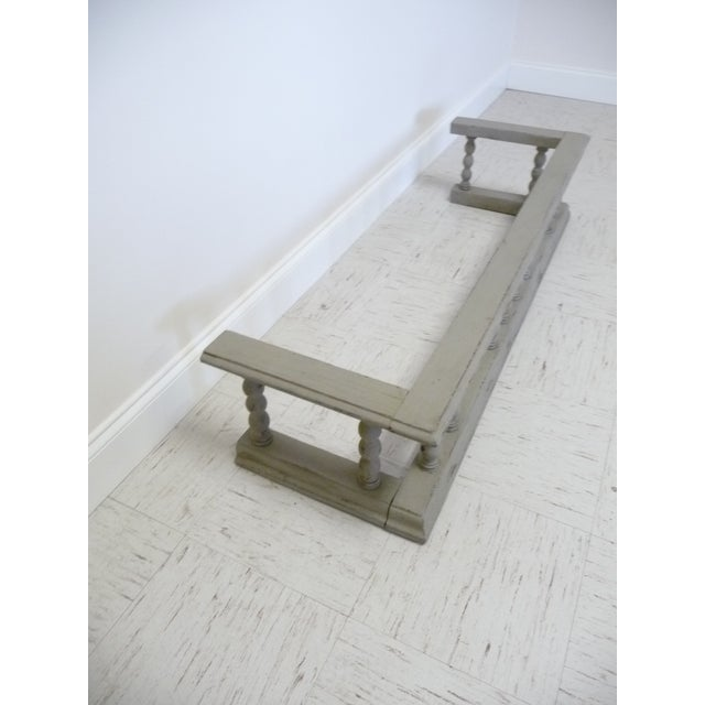 English Traditional Gray Antique European Oak Fireplace Fender W Spindles For Sale - Image 3 of 5