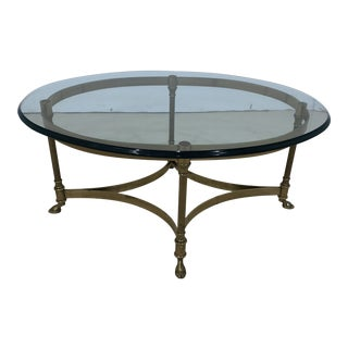 Vintage La Barge Brass and Glass Coffee Table For Sale