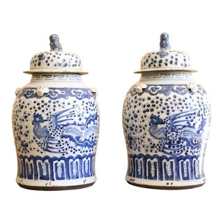 Pair of 19th Century Blue and White Chinese Urns For Sale