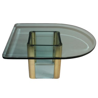 Leon Rosen for Pace D-Shaped Brass and Glass Side Table For Sale