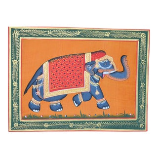 1990s Anglo-Indian Mughal Style Indian Elephant Folk Art Painting