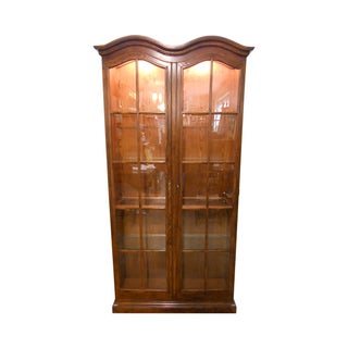 Henredon Tall Dome Top Oak Curio Display Cabinet For Sale
