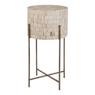 Bone Drum Table in Antique Brass For Sale