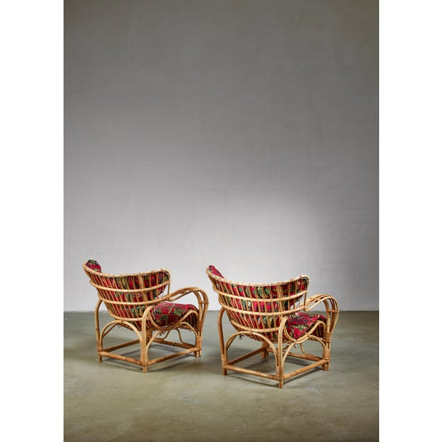Pair of Bamboo and Rattan Lounge Chairs, Sweden, 1940s For Sale - Image 6 of 8