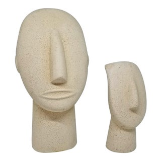 Vintage Stone Bust Sculptures - a Pair - Mid Century Modern Minimalist Art Deco Abstract Palm Beach Boho Chic For Sale