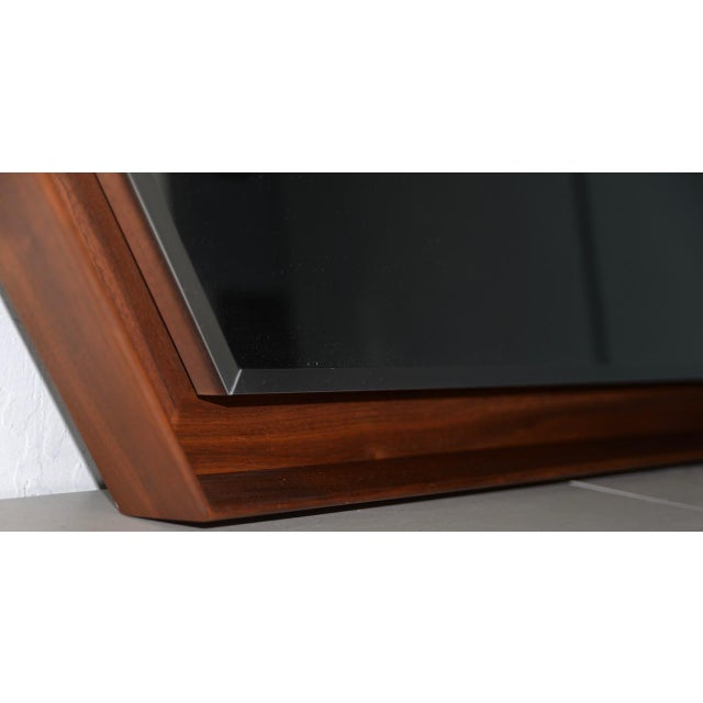 Mid 20th Century Walnut Framed Mirror by Arthur Umanoff for Howard Miller C.1965 For Sale - Image 5 of 8