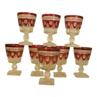 1950s Pressed Glass Cordial Goblets - Set of 8 For Sale