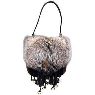 Nwot Prada Fox Fur and Tan Leather Shoulder Bag For Sale