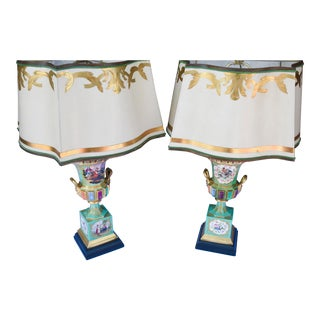 19th C. French Painted Porcelain Urn Lamps For Sale