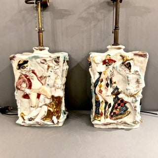 "Pair Eugenio Pattarino ""Venetian Carnival"" Lamps"