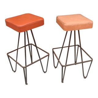 Frederick Weinberg Hairpin Leg Iron Bar Stools - a Pair For Sale