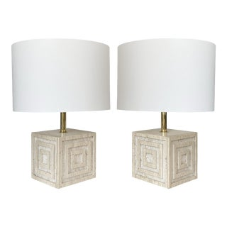 Pair Geometric Italian Travertine and Brass Table Lamps For Sale