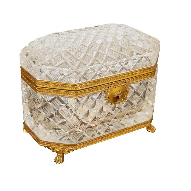Gold French Crystal Casket Box For Sale - Image 8 of 8