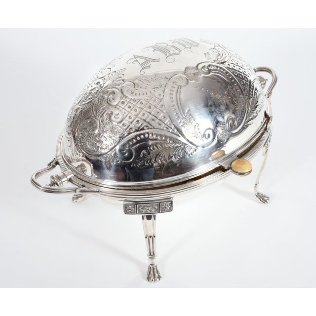1920s Vintage English Silver Plate / Copper Footed Tableware Server For Sale - Image 5 of 11