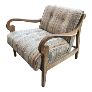 Vintage Wood and Upholstered Lounge Chair For Sale