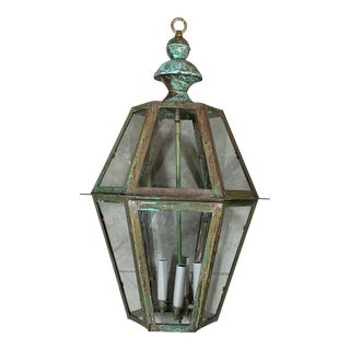 Handcrafted Six Sided Solid Copper and Brass Hanging Lantern For Sale
