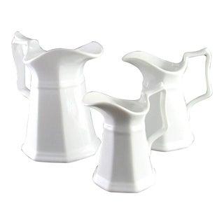 Porcellana De Paris White Ceramic Pitchers - Set of 3 For Sale