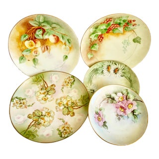Vintage Mixed Floral Fine China Set of Five For Sale