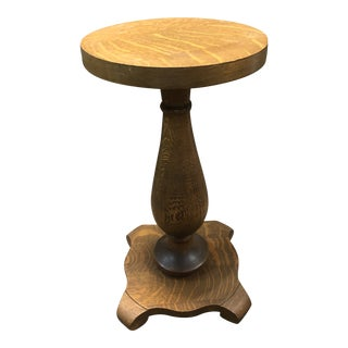 1970s Oak Round Pedestal Table For Sale