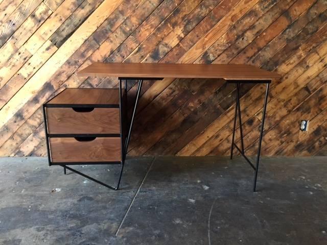 Custom Mid Century Style Walnut Wrought Iron Desk. Newly Built, Walnut  Wood, Wrought