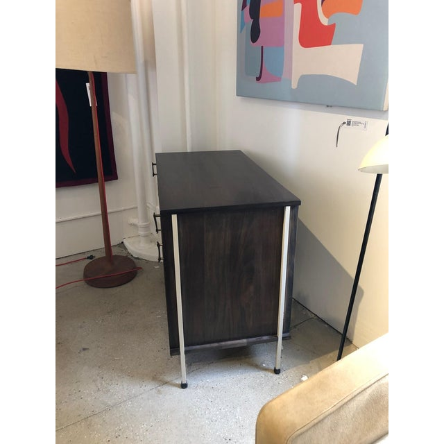 Metal Knoll and Drake Walnut Cabinet With Sliding Doors For Sale - Image 7 of 8