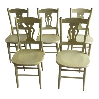 1940s Painted Bentwood Chairs - Set of 5 For Sale