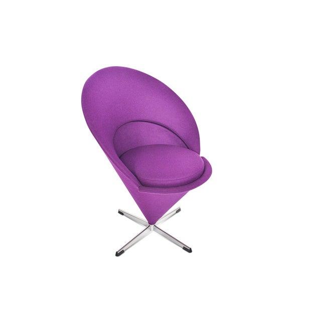 Purple Verner Panton Swivel Cone Chair in Purple Wool For Sale - Image 8 of 10
