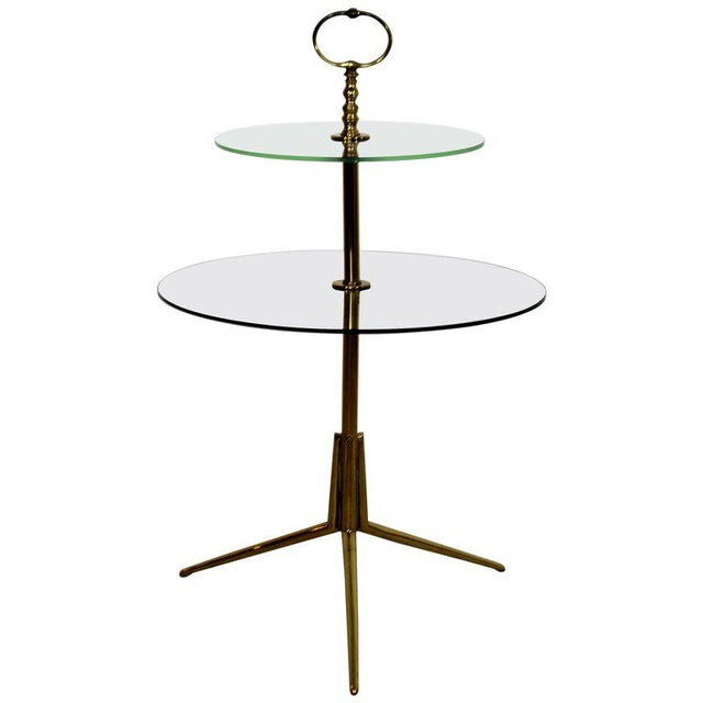 1950s Mid-Century Modern Cesare Lacca Italian 2-Tier Brass Glass Side End Table For Sale In Detroit - Image 6 of 6