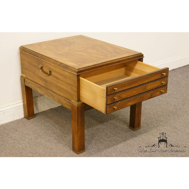 Wood 20th Century Contemporary Lane Furniture Bookmatched Walnut End Table For Sale - Image 7 of 13