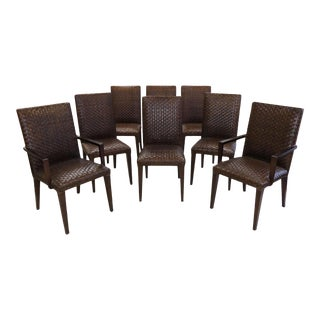 Stone International Woven Leather Dining Chairs- Set of 8 For Sale