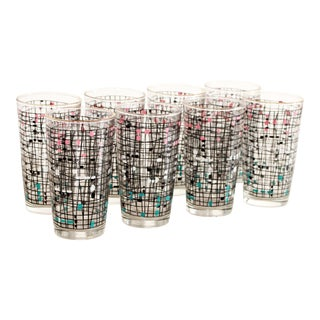 Mid Century Modern Anchor Hocking Abstract Tumblers / High Ball Glasses - Set of 8 For Sale