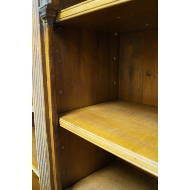 Walnut Large Italian Walnut Architectural Bookcase w/ Corinthian Columns For Sale - Image 7 of 10