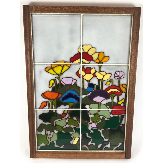 20th Century Art Nouveau Tile Artwork in Wood Frame by Roberta Goodman For Sale - Image 13 of 13