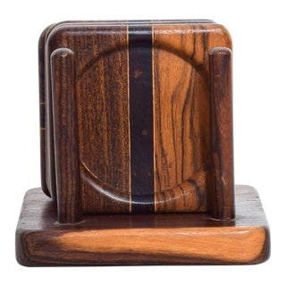 Mid Century Modern Cocobolo Wood Coasters by Don S Shoemaker - Set of 4 For Sale