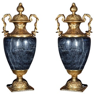 Neoclassical Marble & Bronze Cassolettes - A Pair For Sale