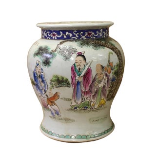 Chinese White Base Color 3 Gods Round Porcelain Stand Display For Sale