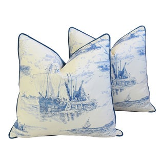 "French Blue/White Nautical Feather/Down Pillows 24"" Square -Pair For Sale"